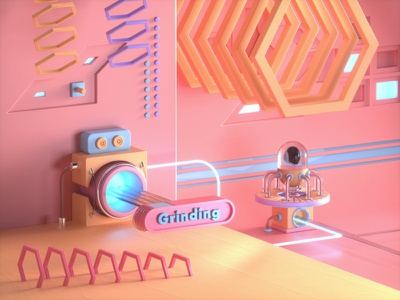 Grinding - Stylized Environment abstract graphicdesign graphic designer designer design modeling illustration 3d art graphic design 3d environment 3d modeling stylized render colorful 3d illustrator 3d illustration 3d artist 3d3d art