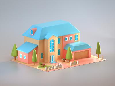 Stylized Cartoony 3D House motion graphics vfx game art cartoony isometric house stylized low poly stylized 3d art stylized low poly 3d house modeling illustration 3d modeling 3d illustration 3d art graphic design 3d