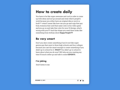 Daily UI Challenge 35/100 - Blog Post