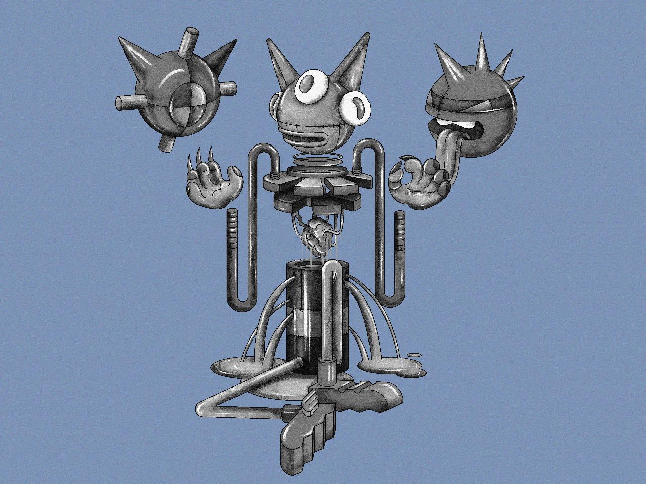 ++ robot flat vector web illustration design