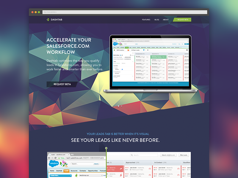 Dashtab Landing Page Concept dashtab salesforce flat polygon slider shane brown