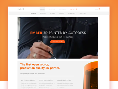 Autodesk Ember 3D Printer Website 3d printing orange minimal clean 3d ember autodesk