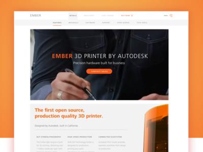 Autodesk Ember 3D Printer Website 3d printing orange minimal clean 3d ember autodesk