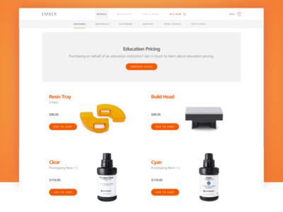 Autodesk Ember 3D Printer Store 3d printing shopping browse ecommerce white minimal orange ember autdesk
