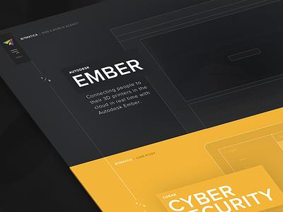 Bitmatica | Homepage clean minimal gold black dark wireframe page landing