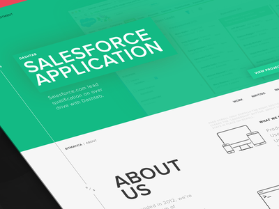 Bitmatica | Homepage Part 2 about clean minimal white green dark wireframe page landing