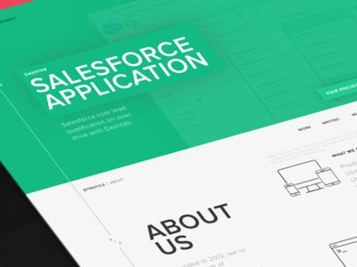 Bitmatica | Homepage Part 2 about clean minimal white green dark wireframe page landing