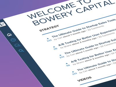 News / Bowery Capital nav left simple clean blue white application news
