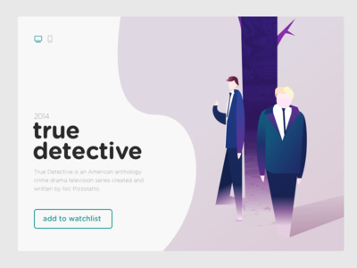 UI and illustration for True Detective