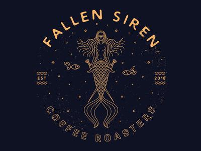 Fallen Siren lineart fish siren roasters coffee illustration mermaid