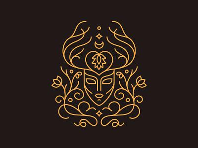 Doe shaman mystical horns antlers deer doe illustration line