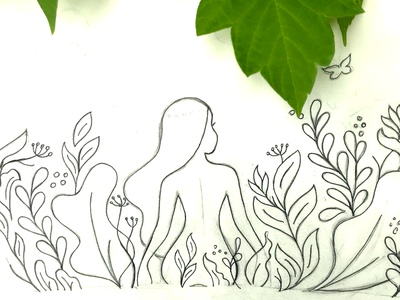 Naturaly Naked woman human illustration leaves naked girl daydreaming