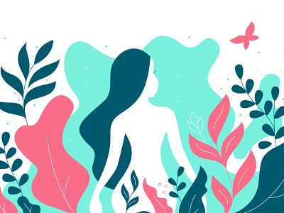 Naturaly Naked woman human illustration leaves naked girl daydreaming