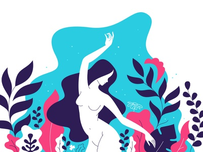 Night dance human woman nature naked leaves illustration girl