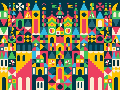 Art & Flair pattern abstract mary blair castle colorscheme colors color vector illustration illustrator disney art disney