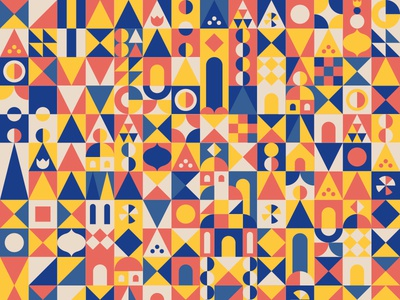 pattern abstract triangle castle circle pattern mary blair