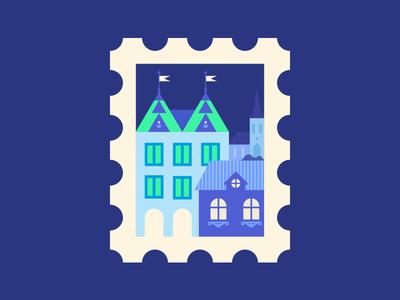 Prague in my mind stamp prague town city