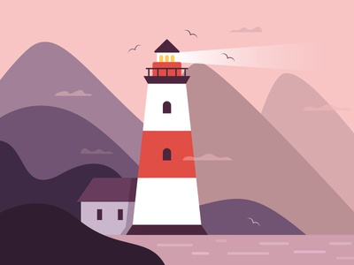 Lighthouse assemblyapp clouds seagull mountains lighthouse illustration