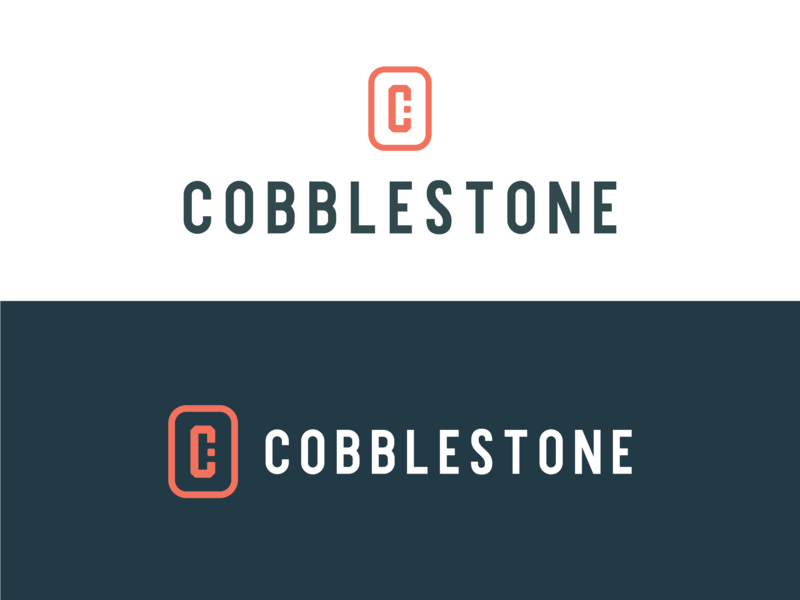 Cobblestone Logo orange monogram design monogram logo seal logo design logo branding cobblestone stone brick