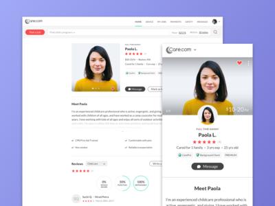 Caregiver Profiles | Desktop & Mobile Web