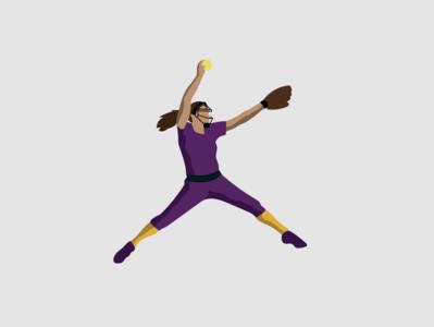 Softball Player adobe design illustration adobe creative cloud illustrator vector