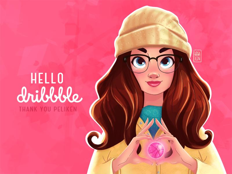HELLO dribbble! portrait illustration art selfie girl invite shot first debut