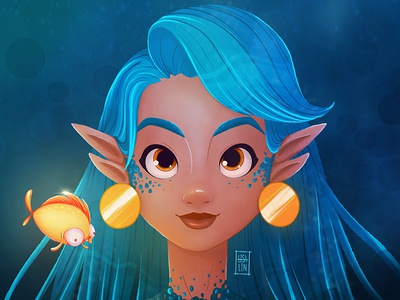Mermaid with a goldfish. Character Design. iPad Pro + Procreate