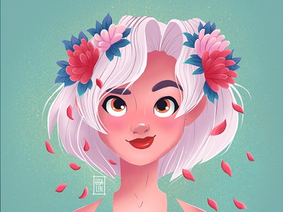 Beauty with pink flowers. Character Design. iPad Pro + Procreate