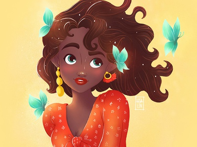 Dark skin beauty. Character Design. iPad Pro + Procreate