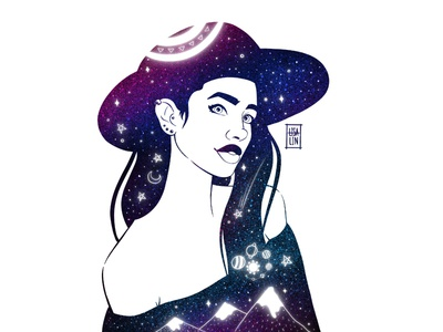 Dark skin beauty in stars. iPad Pro + Procreate
