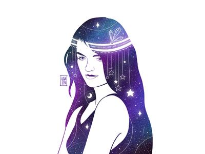 Ethnic beauty in stars. iPad Pro + Procreate