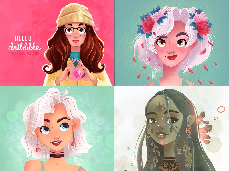 Thank you 2018 branding blond ps ios modern fantasy portrait cartoon character character design ipad pro girl cg procreate design concept illustration cute character cartoon art