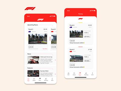 Formula One Application - Redesign Concept 2020 f1 formulaone ios mobile app design design ux ui