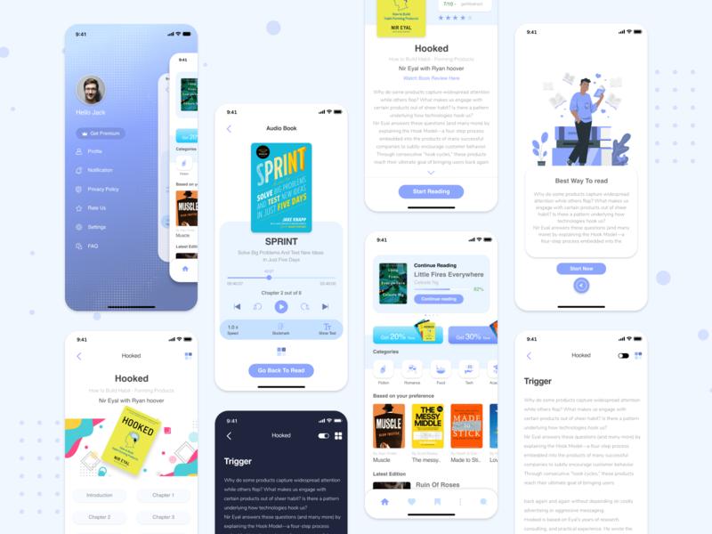Mobile Book - Ebook Concept onlinebook book ebook bookreading app mobile app design ios design ux ui