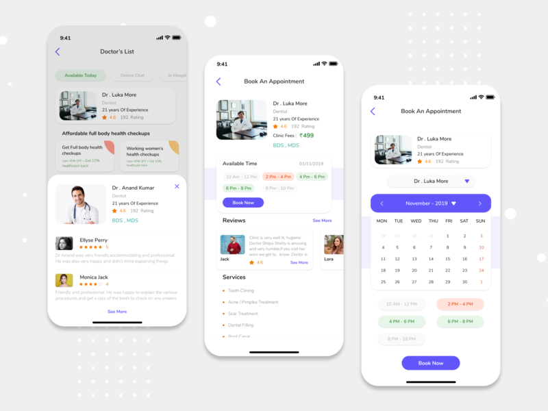 Doctor Appointment Booking App - Medical App doctor appointment appointment doctor app online booking medical app mobile app design ios design ux ui