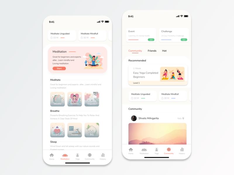 Meditation and Yoga App - Concept yoga meditation app mobile app design ios design ux ui