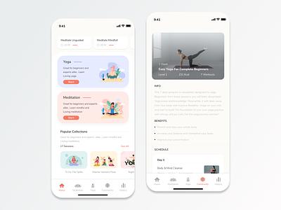 Meditation and Yoga App - Concept yoga meditation meditation app yoga app app mobile app design ios design ux ui