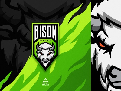 Bison esports ( for sale ) green mascot bison gamers esports logo