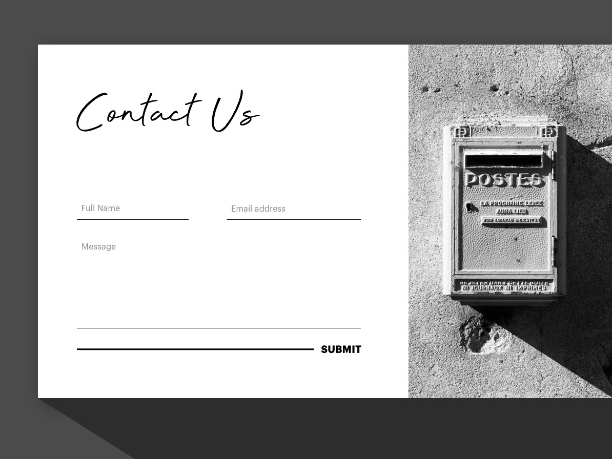 Daily UI 28: Contact Us white black bw black and white photo submit contact form contact us contact ui web typography practice design dailyui