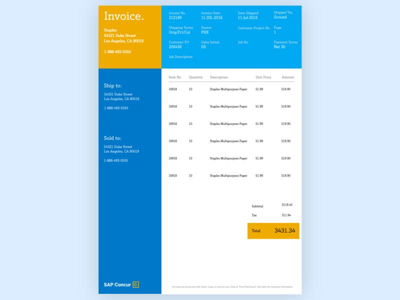 Daily UI #046: Invoice adobe xd concur sap design dailychallenge daily 100 ui