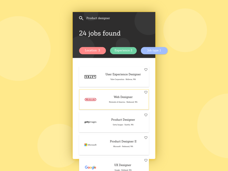 Daily UI #05: Job listing hire job adobe xd app design dailychallenge daily 100 ui