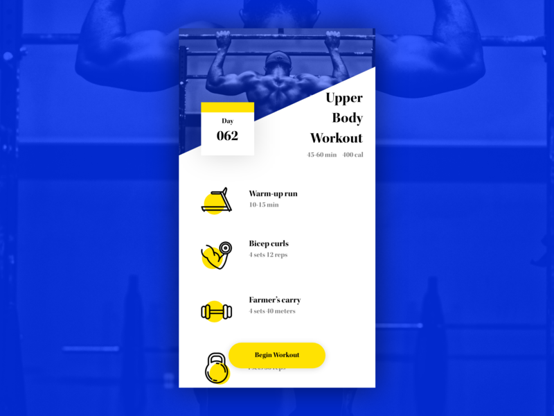 Daily UI #062: Workout of the Day fitness workout adobe xd app design dailychallenge daily 100 ui