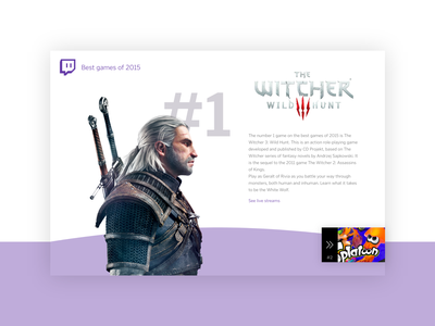 Daily UI #063: Best of 2015 top10 video game games twitch.tv twitch witcher design dailychallenge daily 100 ui