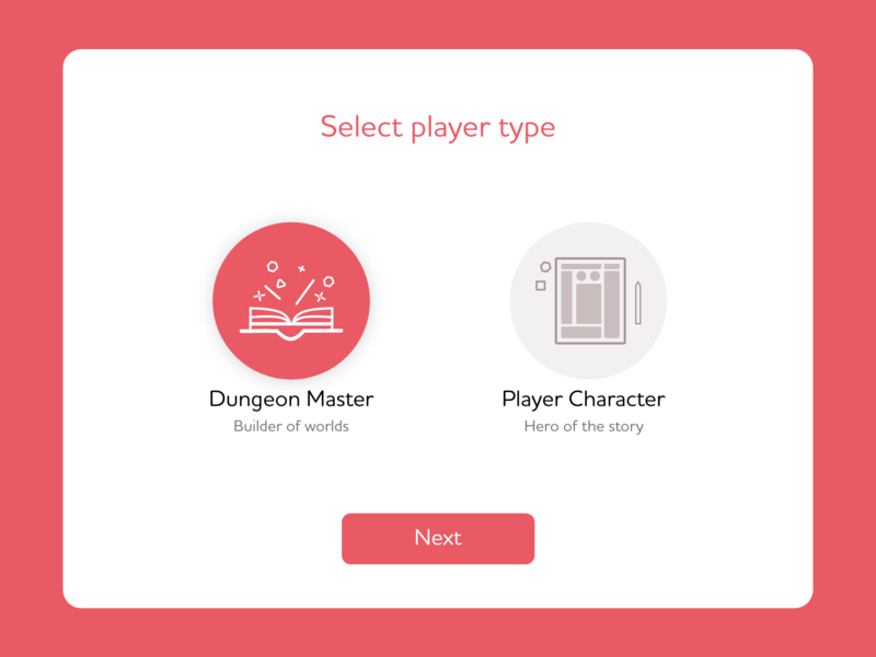 Daily UI #064: Select User Type hero dungeon master dungeons and dragons d20 dnd adobe xd design dailychallenge daily 100 ui