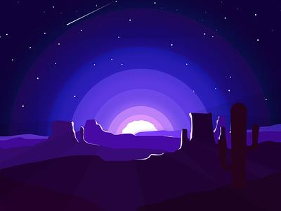 The End - Night Mode rebound colorado beginning arizona cactus desert sunset stars flat art vector