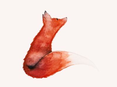 "🐺🐺🐺, Watercolor, 6x6"" painting firefox fox red watercolor"