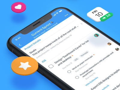 Projects - Flow iOS App tasks project management iphone x flat redesign ui ios flow