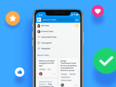 Tasks - Flow iOS App flow ios ui redesign flat iphone x project management tasks