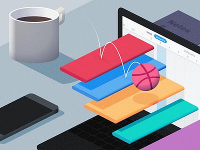 Flow - Illustration dribbble illustration flow ios ui redesign flat project management tasks