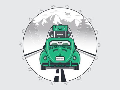 Vintage Volkswagen Beetle driving vintage roadtrip beetle volkswagen car illustration